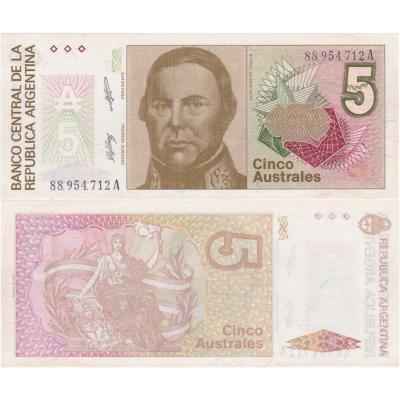 Argentina - bankovka 5 australes 1986 UNC