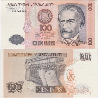 Peru - bankovka 100 intis 1987 UNC