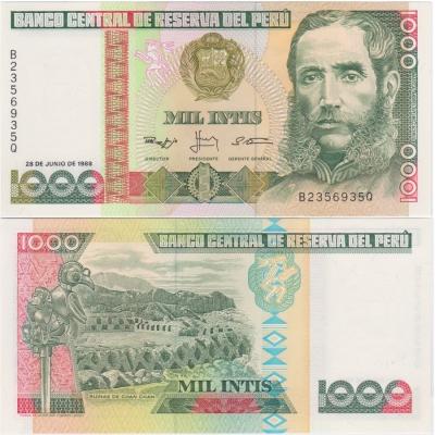 Peru - 1000 intis 1988 Banknote UNC