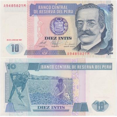 Peru - bankovka 10 intis 1987 UNC