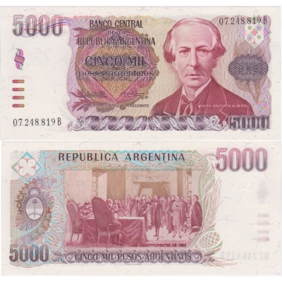 Argentina - bankovka 5000 pesos 1984-85 UNC