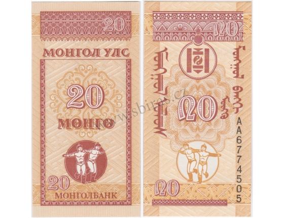 Mongolsko - bankovka 20 Mongo 1993 UNC