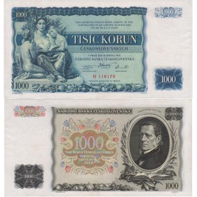 1000 korun 1934, série O, neperforovaná