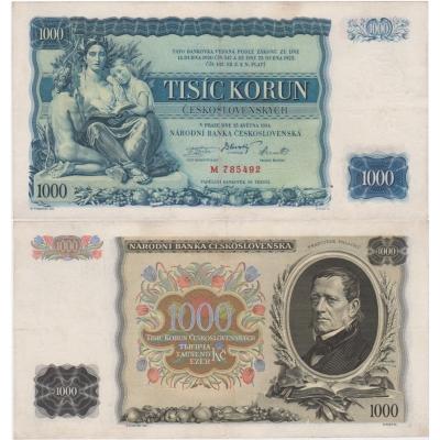 1000 korun 1934, série M, neperforovaná