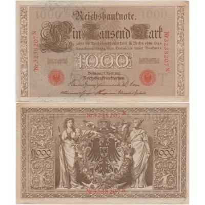 Německé císařství - bankovka Reichsbanknote 1000 marek 1910, červené pečetě