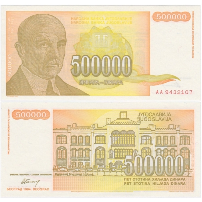 Jugoslávie - bankovka 500 000 dinara 1994 UNC