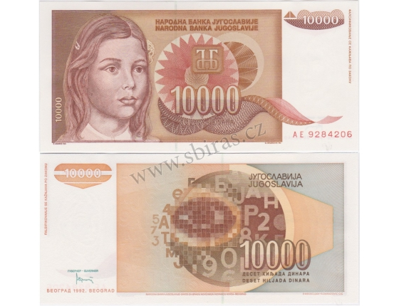 Jugoslávie - bankovka 10 000 dinara 1992 UNC