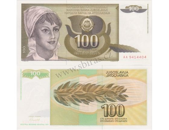 Jugoslávie - bankovka 100 dinara 1991 UNC