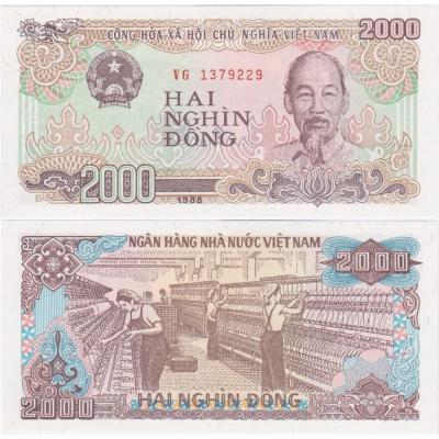 Vietnam - bankovka 2000 dong 1988 UNC