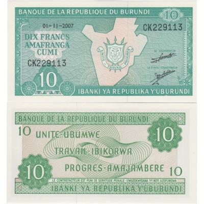 Burundi- bankovka 10 francs 2007 UNC