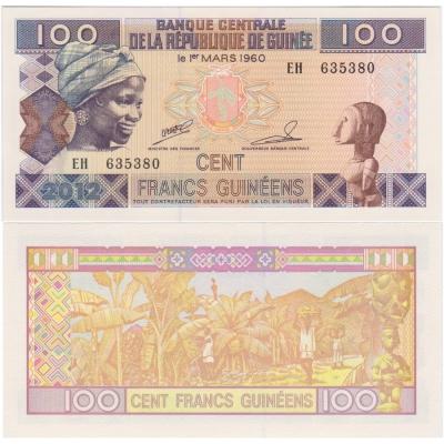 Guinea - bankovka 100 francs 2012