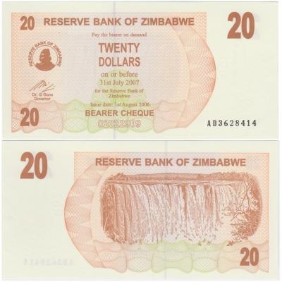 Zimbabwe - bearer cheque 20 dollars 2007 UNC