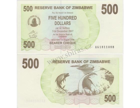 Zimbabwe - bearer cheque 500 dollars 2007 UNC