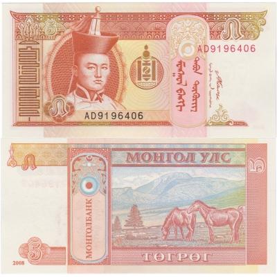 Mongolsko - bankovka 5 Tugrik 2008 UNC