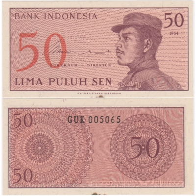 Indonésie - bankovka 50 sen 1964 aUNC