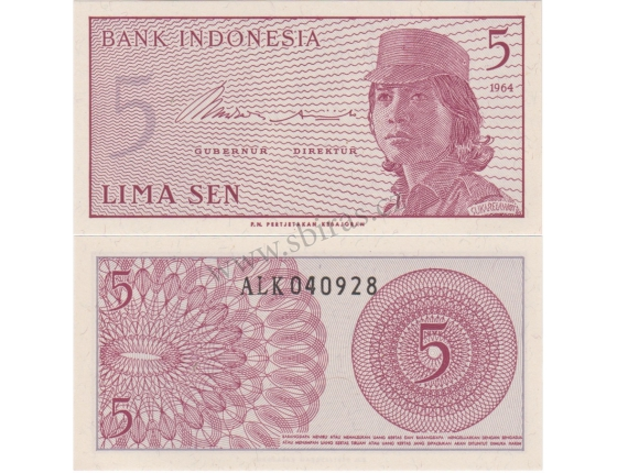 Indonésie - bankovka 5 lima sen 1964 aUNC