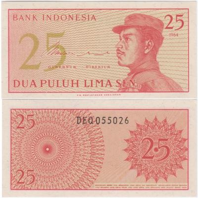 Indonésie - bankovka 25 sen 1964 aUNC