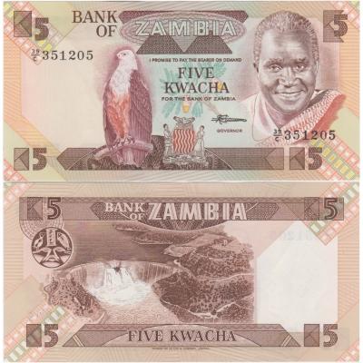 Zambie - bankovka 5 kwacha 1980-1988 UNC