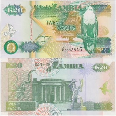 Zambie - bankovka 20 kwacha 1992 UNC