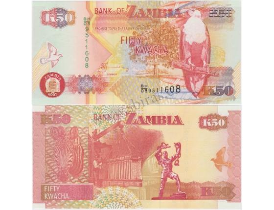 Zambie - bankovka 50 kwacha 2007 UNC