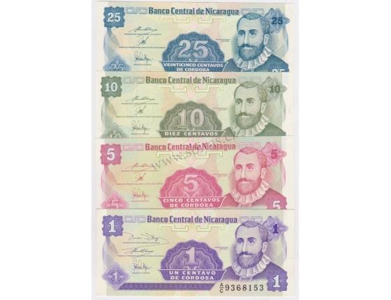 Nicaragua - sada bankovek 1, 5, 10, 25 centavos UNC