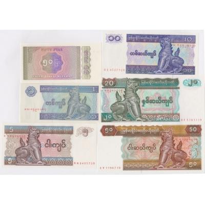 Barma - sada bankovek 50 pyas, 1, 5, 10, 20, 50 kyats UNC