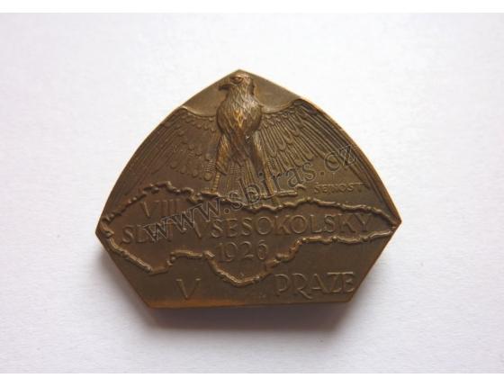 VIII Slet všesokolský 1926, odznak připínací