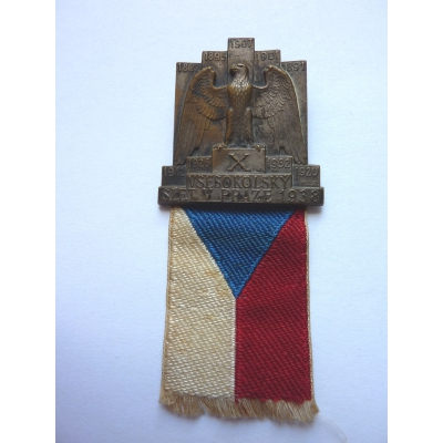 Československo - odznak X. Všesokolský slet v Praze 1938