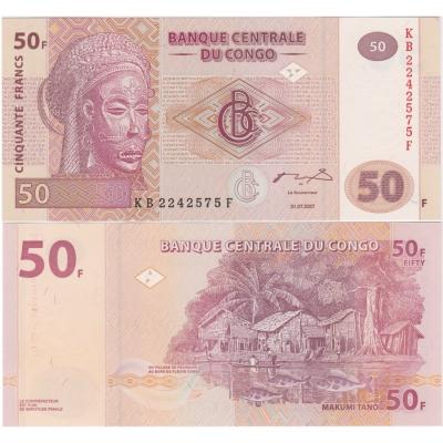 Kongo- bankovka 50 francs 2007 UNC