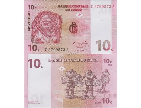 Kongo - bankovka 10 centimes 1997 UNC