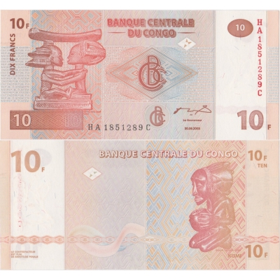 Kongo - bankovka 10 francs 2003 UNC