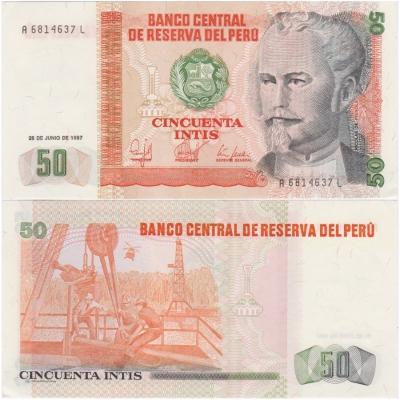 Peru - bankovka 50 intis 1987 aUNC