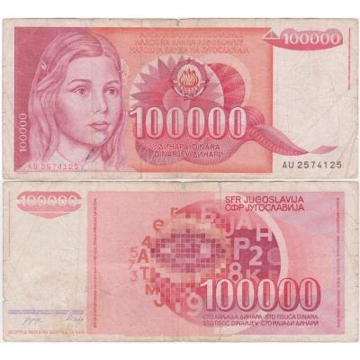 Jugoslávie - bankovka 100 000 dinara 1989