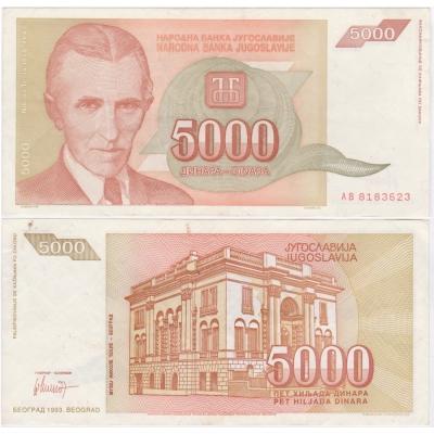 Jugoslávie - bankovka 5 000 dinara 1993