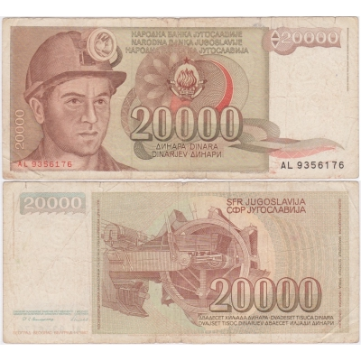 Jugoslávie - bankovka 2000 dinara 1987
