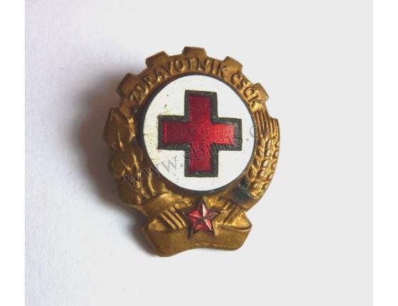 Zdravotník Československého červeného kříže - historický odznak připínací, smalt