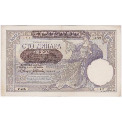 Jugoslávie - bankovka 100 dinara 1929 / přetisk Sbsko - okupace Německem 1941