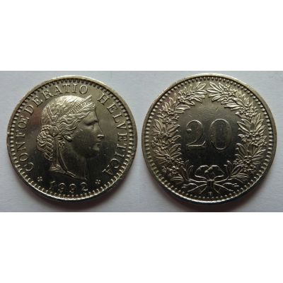 Switzerland - 20 centimes 1992