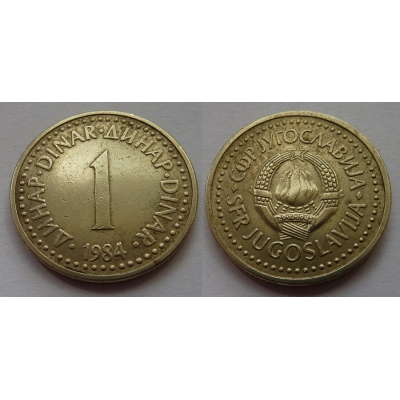 Jugoslávie - 1 dinar 1984