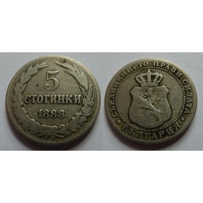 Bulharsko - 5 stotinki 1888
