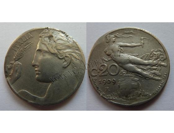 Italské království - 20 centesimi 1909 R