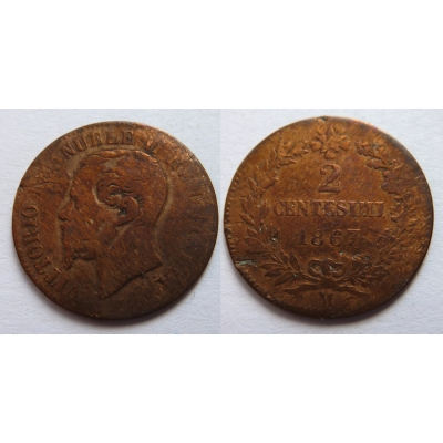 Italské království - 2 centesimi 1867 M