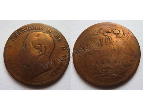 Italské království - 10 centesimi 1866 M