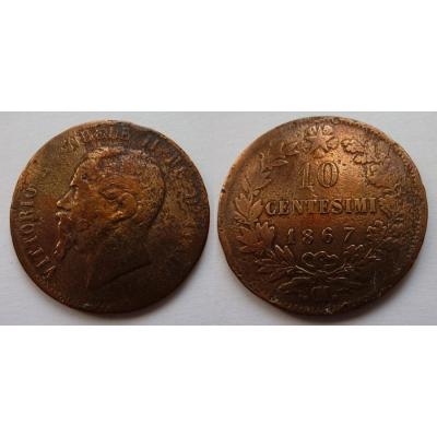 Italské království - 10 centesimi 1867 M