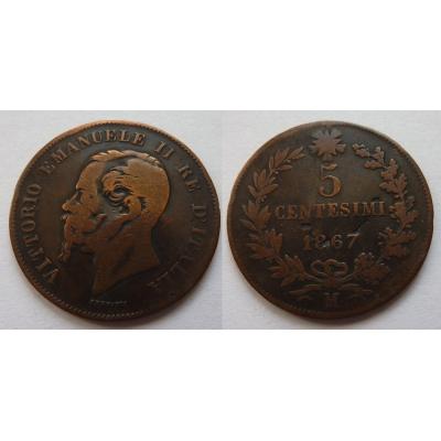 Italské království - 5 centesimi 1867 M