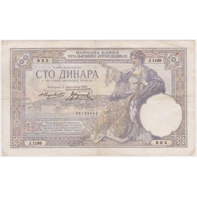 Jugoslávské království - bankovka 100 dinara 1929