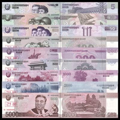 KLDR - sada 9 bankovek Severní Korea UNC