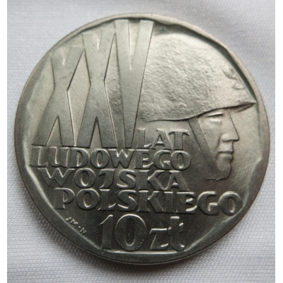 Polsko - 10 zlotych 1968, 25. výročí lidové armády
