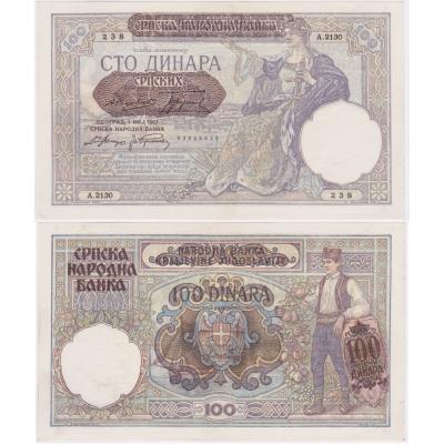 Jugoslávie - bankovka 100 dinara 1929 aUNC, Sbsko - okupace Německem 1941