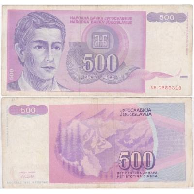 Jugoslávie - bankovka 500 dinara 1992